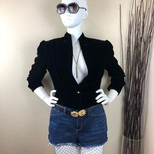 Vintage Single Button Black Velvet Blazer